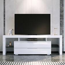 Elegant TV Cabinet Entertainment Units Stand With LED RGB 130cm White
