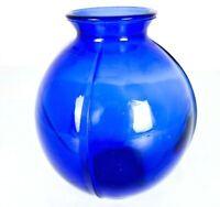 Vintage Cobalt Blue Glass Round Bud Flower Vase Decorative Textured marked 2