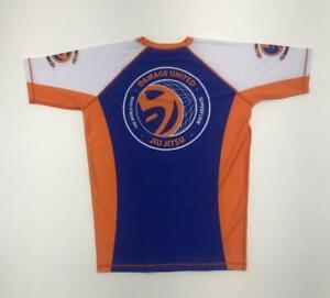 2XLarge  BJJ Jiu Jitsu Blue and Orange Short Sleeve Rashguard  Brand New