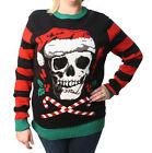 Ugly Christmas Sweater Plus Size Women's Skull Santa Hat Light Up Sweatshirt