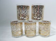 Luxe CULVER Midcentury Gilt BAROQUE SCROLL Lace Set 5 Tumblers HOLLYWOOD REGENCY