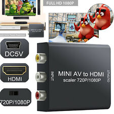 1080p/720p Mini AV CVBS To HDMI Converter Adapter Video RCA Support  PAL NTSC US