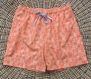 Southern Tide Men's Happy Hour Swim Trunks 7720 Nautical Orange Size Medium NWT