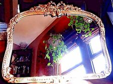 "1930's -1940's VINTAGE Antique GOLD MIRROR 28""x 23"" Hanging Wall Floral Design"