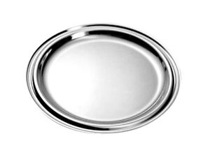 6er Set Coasters from Metal Silver Plated Plate Round Coasters