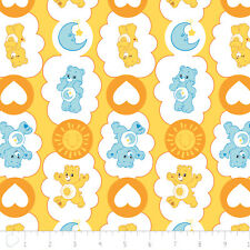 Care Bears Funshine Heart Bedtime Yellow Camelot 100% cotton fabric by the yard