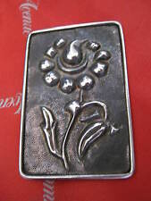 """Antique """"Solid Silver"""" Arts & Crafts Embossed Flower Brooch C Clasp 1.5"""" X 2.25"""""""