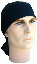 Solid Black No Tie Strap Back with Sweatband Head Wrap Durag American Made USA