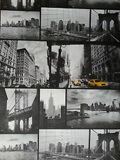 Wow! New York City Black and White Monochrome Yellow Taxi Photograph Wallpaper