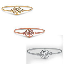 Yellow, Rose, or Silver Tree of Life Bangle Style .925 Sterling Silver Bracelet