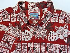 Reyn Spooner Joe Kealoha's  Mens XL Hawaiian Shirt Aloha Red Floral TiKi