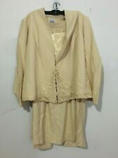 R&M Richards Karen Kwong Gold 2 Piece Skirt Suit Women Size 18W Mother of Bride