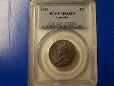 1919 Canada 1C Large Cent PCGS MS63BN  **NICE COIN** FREE U.S. Shipping