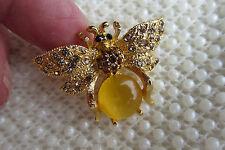 AMBER CUBIC ZIRCONIA GOLDTONE YELLOW BEE BUG BROOCH PIN