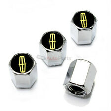 (4) Lincoln Gold Logo Chrome ABS Car Truck Tire/Wheel Air Stem Valve CAPS Covers