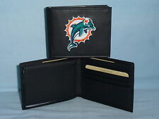 MIAMI DOLPHINS   embroidered  Leather BiFold Wallet    NEW    black