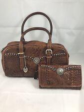 American West Leather Shoulder Bag Purse Wallet Hand Tooled Western Studded