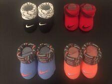 4PR NIKE Newborn Infant BABY BOOTIES Socks Crib Shoes GIRLS BOYS 0-6M ORANGE RED