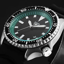 SHARK ARMY Mens Date Green Black Silicone Outdoor Military Sport Wrist Watch