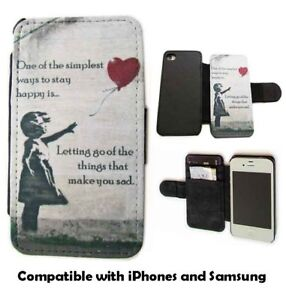 Banksy phone case girl with balloon leather wallet flip mobile case