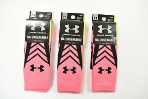 LOT OF 3 Under Armour Undeniable Crew Socks Men's Shoe Size 4-8.5, M, Pink