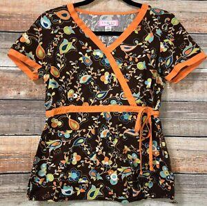 Koi by Kathy Peterson Womens XS Brown Orange Paisley Floral Scrub Top VGC