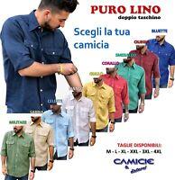 CAMICIA 100% PURO LINO TG. M L XL XXL XXXL Uomo Manica Lunga - Blu Bianca Verde