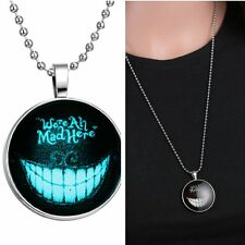 We Are All Mad Here Smiling Glow In Dark Pendant Necklace Stainless Steel Chain