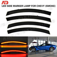 For Chevy Corvette C7 2014-2019 SMOKED LED Side Marker Light Lamp Red Amber 4PCS