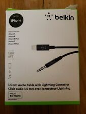 BELKIN 1.8M LIGHTING TO 3.5MM AUX CABLE ADAPTER FOR APPLE iPHONE 7/8/PLUS/X