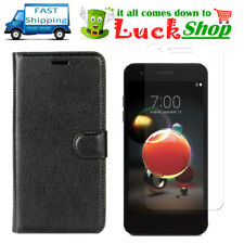 Black For LG Aristo 2 / K8 Wallet Card Case + Tempered Glass Screen Protector