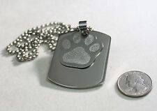 DOG TAG MEMORIAL PET  X LARGE THICK SOLID STAINLESS NECKLACE PENDANT