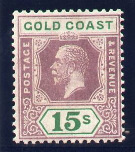 Gold Coast 1924 KGV 15s dull purple & green (Die II) MLH. SG 100a. Sc 94a.