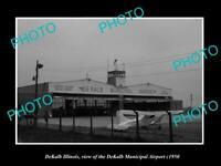 OLD POSTCARD SIZE PHOTO DEKALB ILLINOIS, THE DEKALB AIRPORT HANGAR c1950