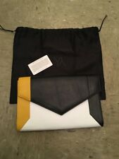 WOMENS YLIANA YEPEZ YELLOW/BLACK/WHITE LEATHER CLUTCH ENVELOPE SHOULDER BAG NWOT