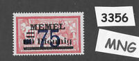 #3356  PF75  MNG stamp Sc47 1920 Memel / Lithuania / Prussia / Germany WWI