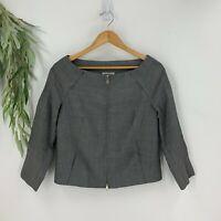 Kaufmanfranco Womens Blazer Suit Jacket Size 8/44 Gray Wool Blend Boatneck O8