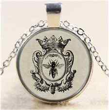 Crown Queen Bee Photo Cabochon Glass Tibet Silver Chain Pendant  Necklace
