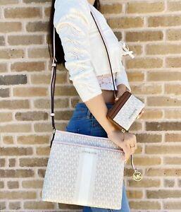 Michael Kors Bedford Crossbody Bag Center Stripe MK Vanilla Pink + Wallet Brown
