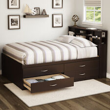 Brown Full Storage 4-Drawer Platform Bed Frame Bookcase Headboard Home Furniture