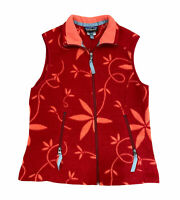 Patagonia Synchilla Full Zip Women's Red Orange Floral Fleece Knit Vest Sz Med