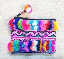 Thai Hmong Handmade Multi Color Pom Pom Embroidered Purse Bag Wallet Coin Bags