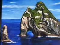 Framed Original New Landscape Beach Mountain Ocean Painting Home Decor Fine Art
