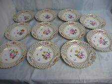"""ELEVEN!! MEISSEN 9-1/2"""" RETICULATED HAND PAINTED PLATES w/INSECTS & BUTTERFLIES"""