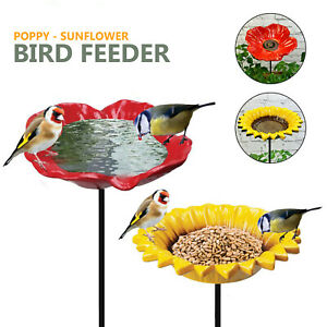Cast Iron Poppy Sunflower Garden Ornament Wild Bird Dish Seed Feeder Dish Bath