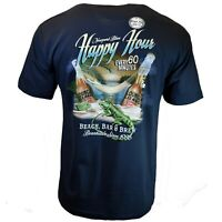 Happy Hour Men's T-shirt Beach Bar and Brew Vacation Newport Blue Tee M L XL XXL