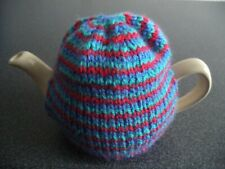 TEA COSY - HAND KNITTED & SUITABLE FOR SMALL 1 to 2 CUP TEAPOTS - TRIO STRIPED