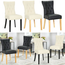 2/4 Dining Chairs Set Faux Leather Padded Seat Wood Leg Kitchen Chair Furniture