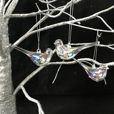 3 X Glass Bird Decorations Hanging Christmas Tree Iridescent Rainbow Vintage