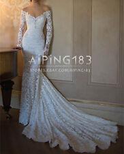 New Long Sleeve Lace Mermaid Off Shoulder Wedding Dress Bridal Gowns Custom Size